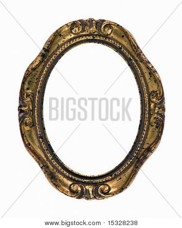 Vintage rusty gold oval frame