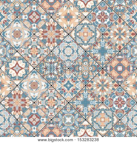 Abstract orange and blue patterns in the mosaic set. Square scraps in oriental style. Vector illustration. Ideal for printing on fabric or paper.
