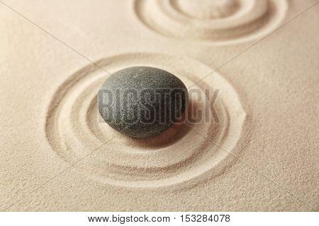 Japanese Zen garden. Pebble on a sand