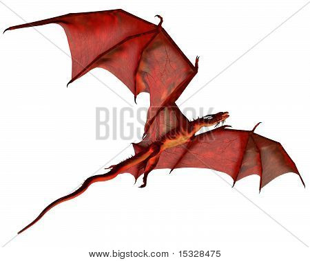 Red dragon gliding, 3d digitally rendered illustration poster
