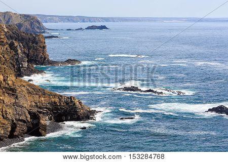 Summer Atlantic Ocean Coast. Algarve, Portugal.