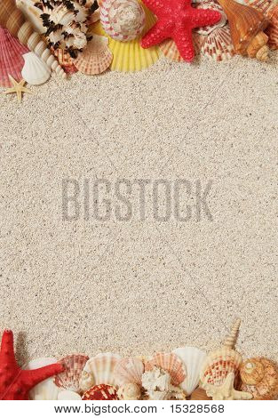 Summer concept - sand and seashells frame