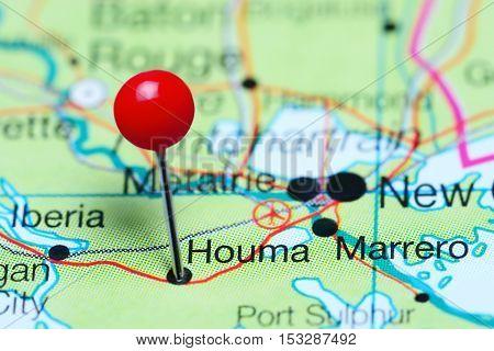 Houma pinned on a map of Louisiana, USA