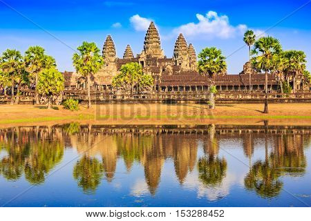 Angkor Wat, Cambodia. View from across the lake.