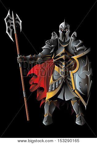 Dark guardian, with full armor, holding halberd, vector illustration