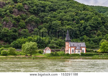 Small Saint Clement's Chapel near Trechtingshausen Rhine Valley Rhineland-Palatinate Germany UNESCO World Heritage Site.