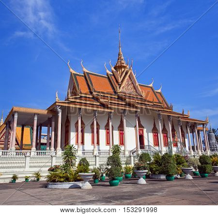 Silver Pagoda in Phnom Penh Cambodia. Iit was known as Wat Ubosoth Ratanaram. The temple's official name is Preah Vihear Preah Keo Morakot which is commonly shortened to Wat Preah Keo in Khmer.