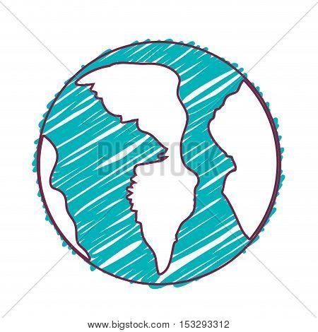 earth planet sphere. world globe icon. draw design. vector illustration