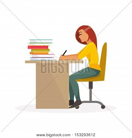Girl student sitting at a desk and writing. Education college school