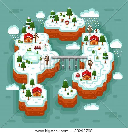 Vector flat style isometric 3d stock illustration of night winter landscape with sea, islands, bridge, road, rural, fisherman village, trees, pond, birds, snowflakes, snowfall, snowdrift, icicles.