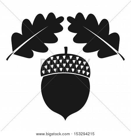Acorn and oak leaves icon. Flat design illustration