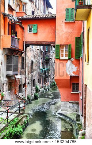 Canal in the old town of Bologna, Italy
