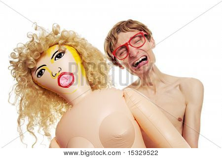 Sexual problems - crying guy with a blow-up doll