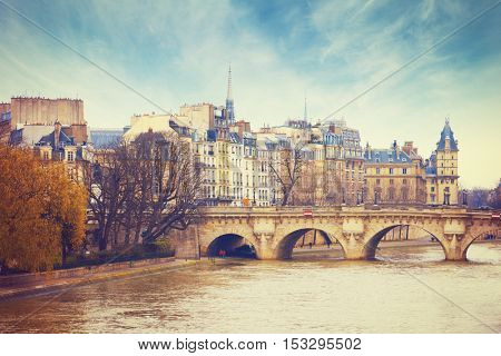 Pont Neuf in central Paris, France.  The Pont Neuf  is the oldest standing bridge across the river Seine in Paris.
