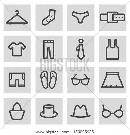 Vector black line clothes icons set on grey background