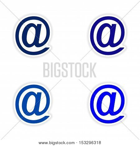 assembly realistic sticker design on paper email icon