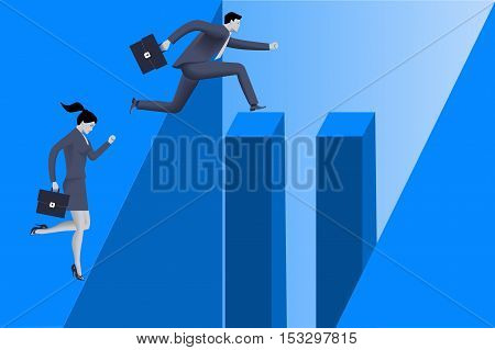 Gender inequality on career path business concept Business lady stops before abyss but businessman jumps over abyss because he has helping pillars on his way. Concept of career disparity foul play