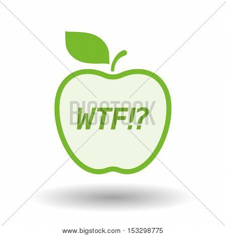 Isolated Line Art Fresh Apple Fruit Icon With    The Text Wtf!?