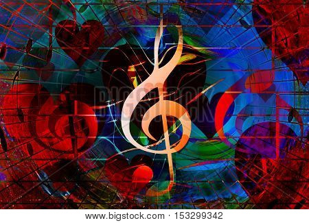 beautiful collage with hearts and music notes and music clefs, symbolizining the love to music