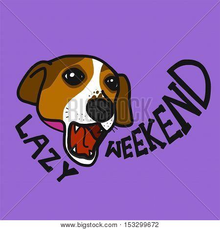 Jack Russell dog lazy weekend cartoon illustration
