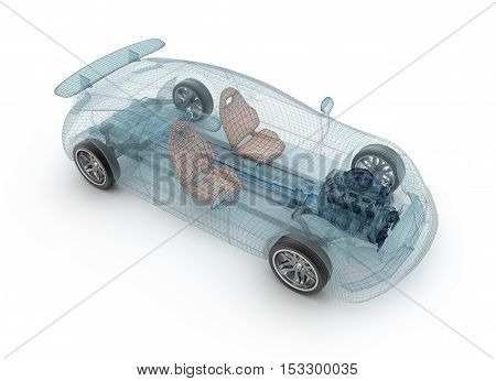 Transparent car design wire model.3D illustration. My own car design.