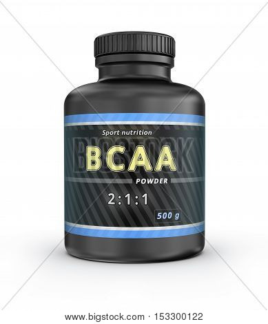 BCAA Container. Branched-Chain Amino Acids set. Sport Nutrition with BCAA. 3D illustration