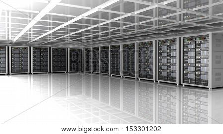 Modern interior of server room in datacenter 3D illustration