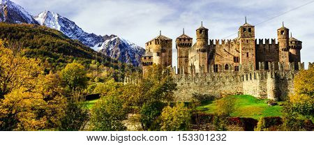 Beautiful medieval castles of Italy - Fenis in Valle d'Aosta mountins