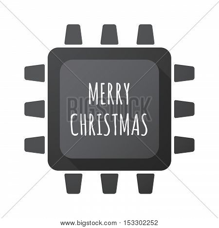 Isolated Central Processing Unit Icon With    The Text Merry Christmas