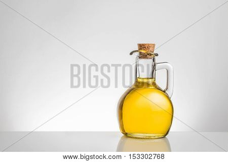 Olive Oil Container Bottle With Stopper On Grey Gradient Background