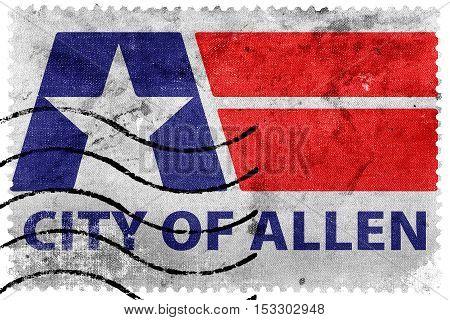 Flag Of Allen, Texas, Usa, Old Postage Stamp