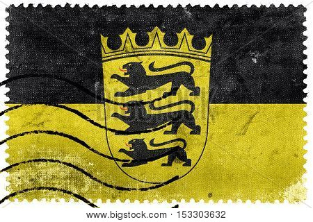 Flag Of Baden-wurttemberg With Coat Of Arms, Germany, Old Postage Stamp