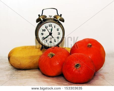 Alarrm clock and pumpkin Pickled Vegetables natural food
