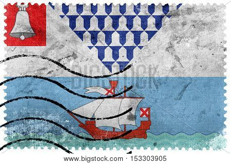 Flag Of Belfast, Northern Ireland, Uk, Old Postage Stamp