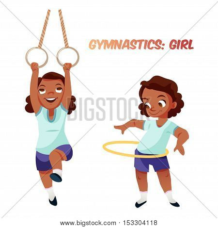 Little african american kid girl doing exercises in gymnastics with rings and hoop. Isolated female child in funny cartoon style. Children sport illustration.