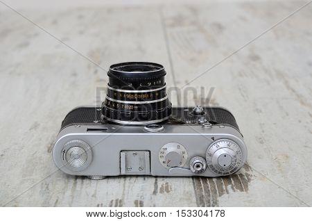 Lutsk Ukraine 2016 Illustrative Editorial Old Soviet Film Camera Fed - 3 With Lens Industar - 26M, I