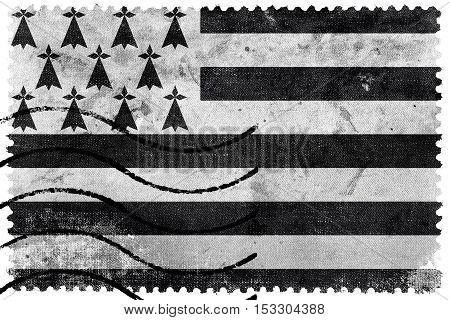 Flag Of Brittany, France, Old Postage Stamp