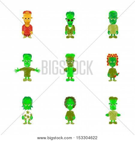 assembly flat shading style icon of halloween zombie family