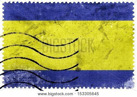 Flag Of Debrecen, Hungary, Old Postage Stamp