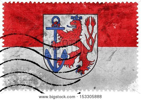 Flag Of Dusseldorf, Germany, Old Postage Stamp