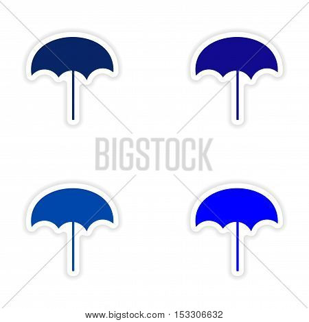 assembly realistic sticker design on paper beach umbrella