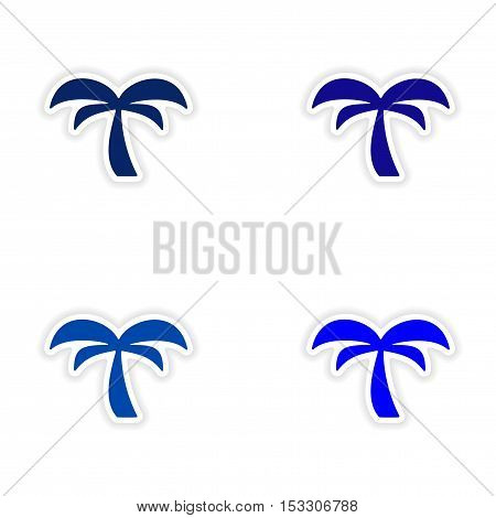 assembly realistic sticker design on paper palm tree