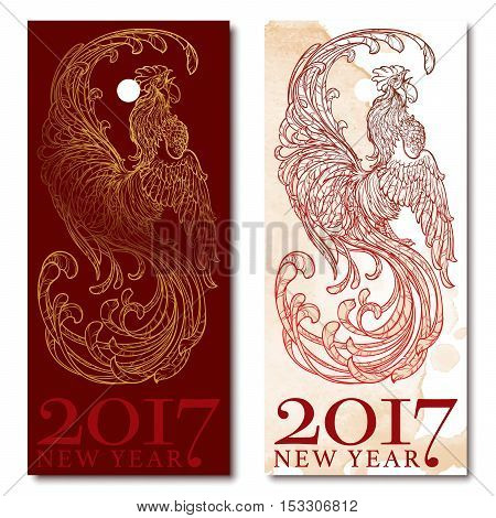 Concept drawing for year of rooster 2017. Crowing Cock - Symbol of New Year 2017. Linear hand drawing isolated on white background. EPS10 vector illustration.