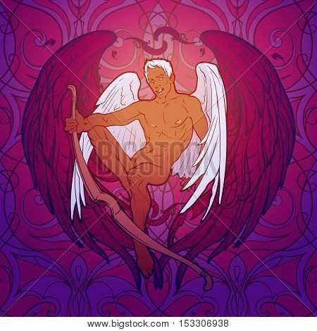 Young sexy cupid sitting with his bough. Seamless pattern background. Pinup and art Nouveau eclectic style. St Valentine's day gay friendly celebration design. Tattoo design. EPS10 vector illustration