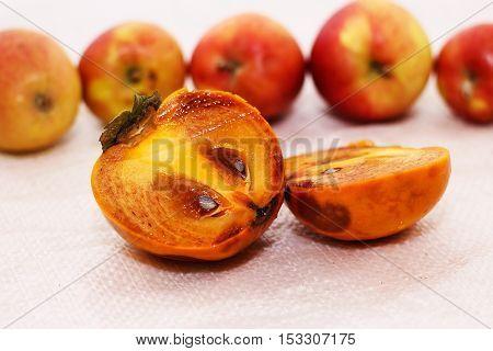 persimmon and apples orange fruit autumn Tasty