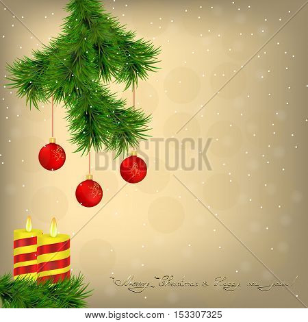 Golden background with spruce twig and candles against the background of falling snow. Vector illustration. eps10.