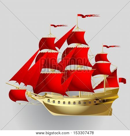 Gold sailing ship with red sails on gray background. Vector illustration