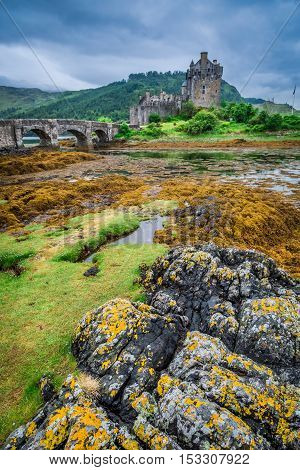 Wonderful Sunset Over Lake At Eilean Donan Castle, Scotland