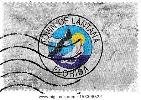 Flag Of Lantana, Florida, Usa, Old Postage Stamp
