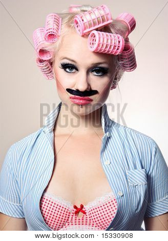 Attractive girl with mustache, similar available in my portfolio